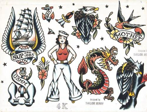 Vintage Tattoos Sailor Jerry Flash Sailor Tattoos Navy