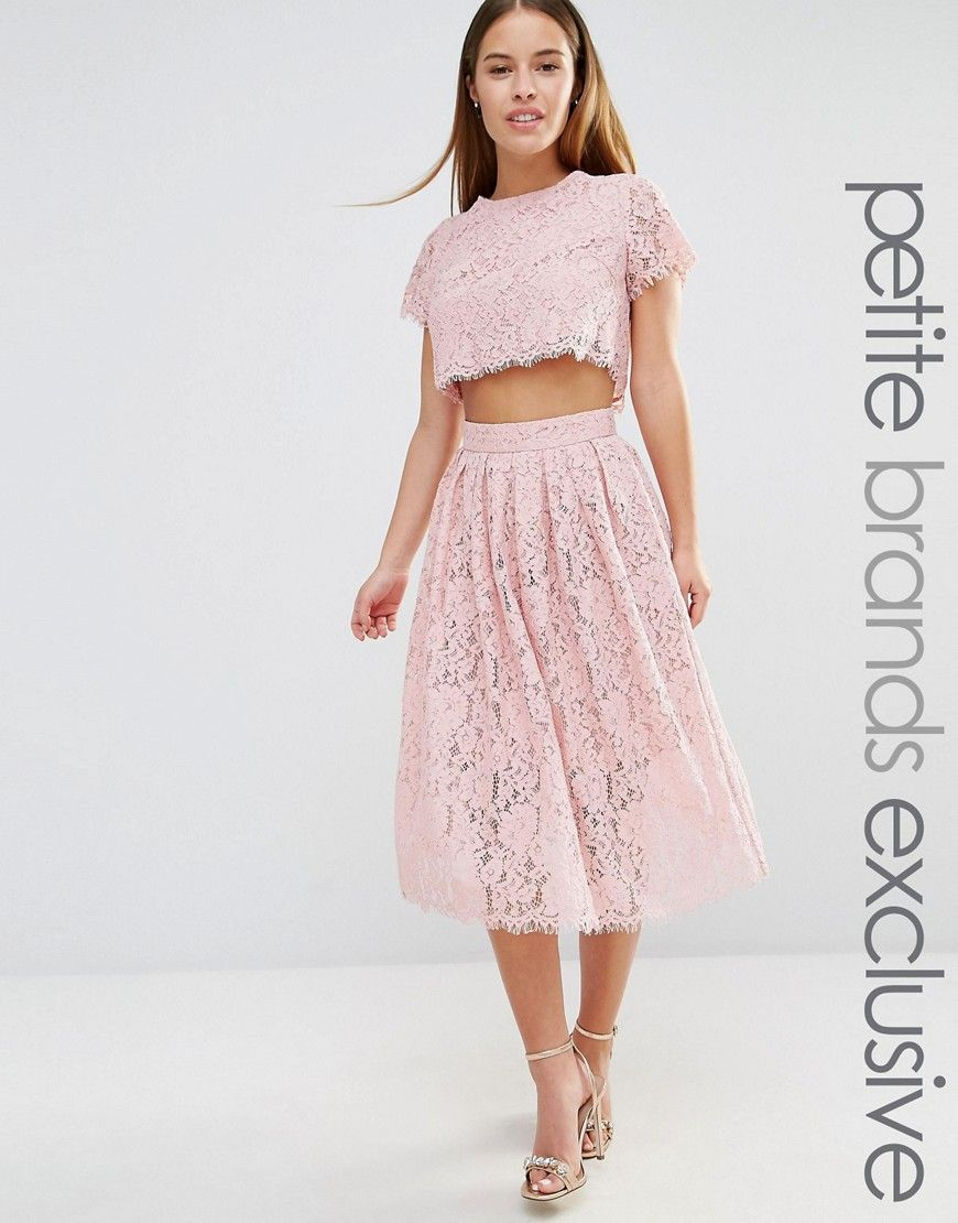 True decadence petite in allover lace full prom skater dress