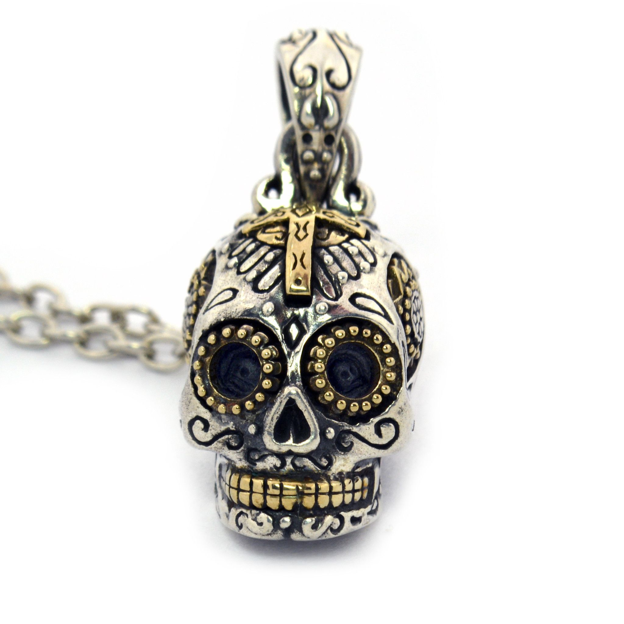 com skull silver pendant amazon necklace sugar jewelry dp sterling large