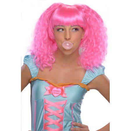 Womens Bubble Gum Pink Halloween Costume Wig