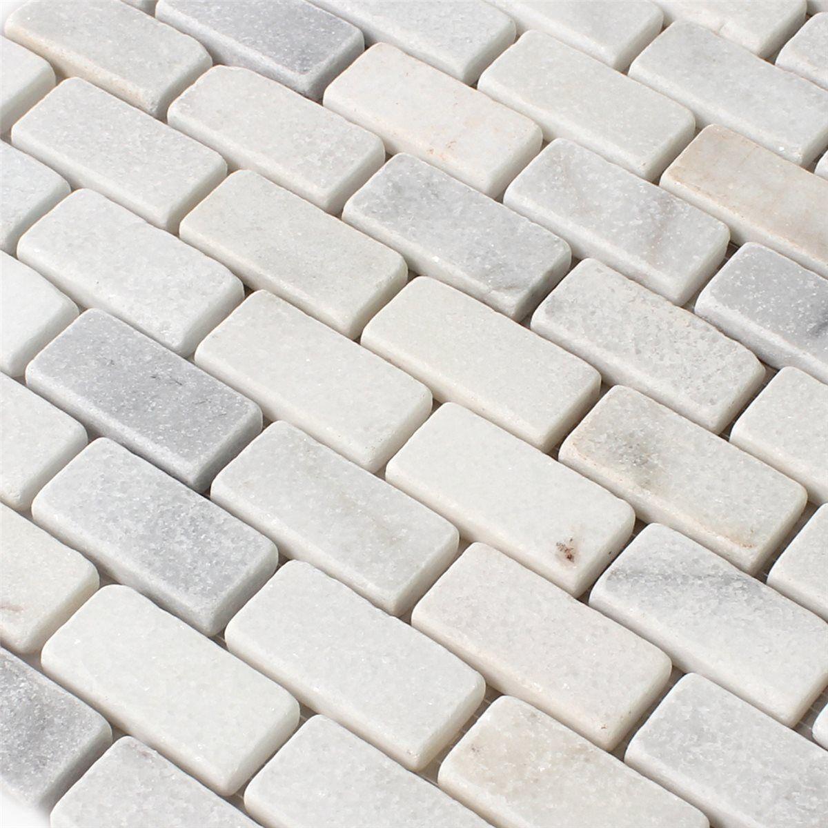 Marmor Naturstein Mosaik Brick Weiss Getrommelt Natursteine Mosaik Mosaikfliesen