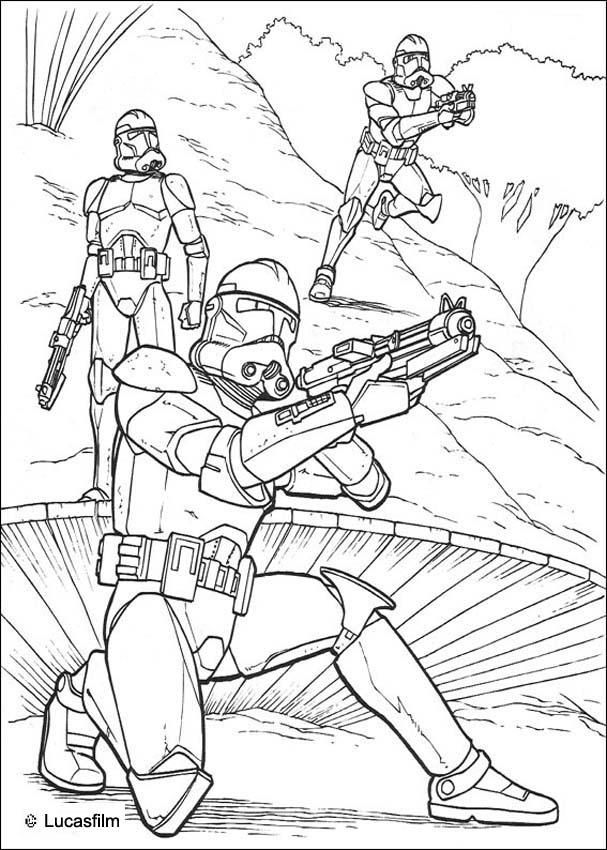 STAR WARS coloring pages Clone soldiers running Star