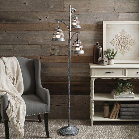 Triple Galvanized Metal Floor Lamp   Kirklands