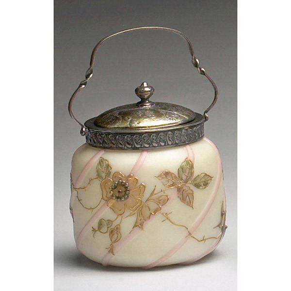 MT Washington Glass Biscuit Jar - stylized gold flowers