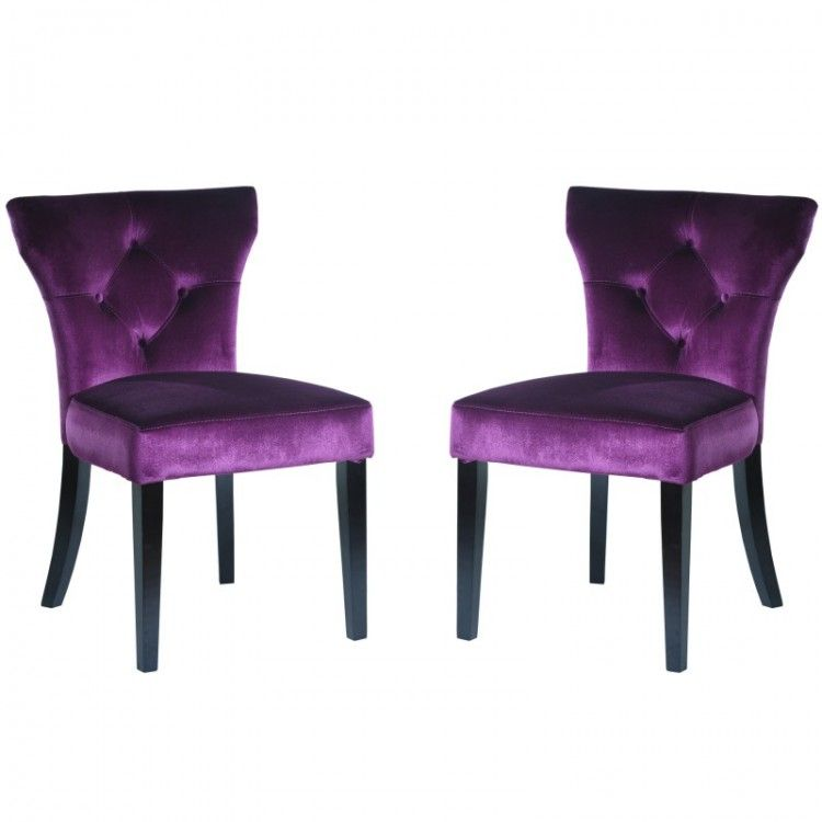 Elise Side Chair In Purple Velvet Set Of 2 By Armen Living Side Chairs Cheap Living Room Sets Dining Chair Upholstery