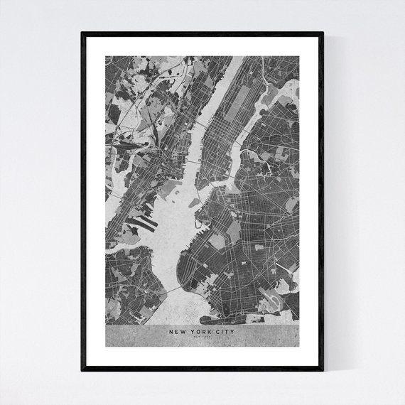 New York Map Print New York Map Poster New York Wall Art New