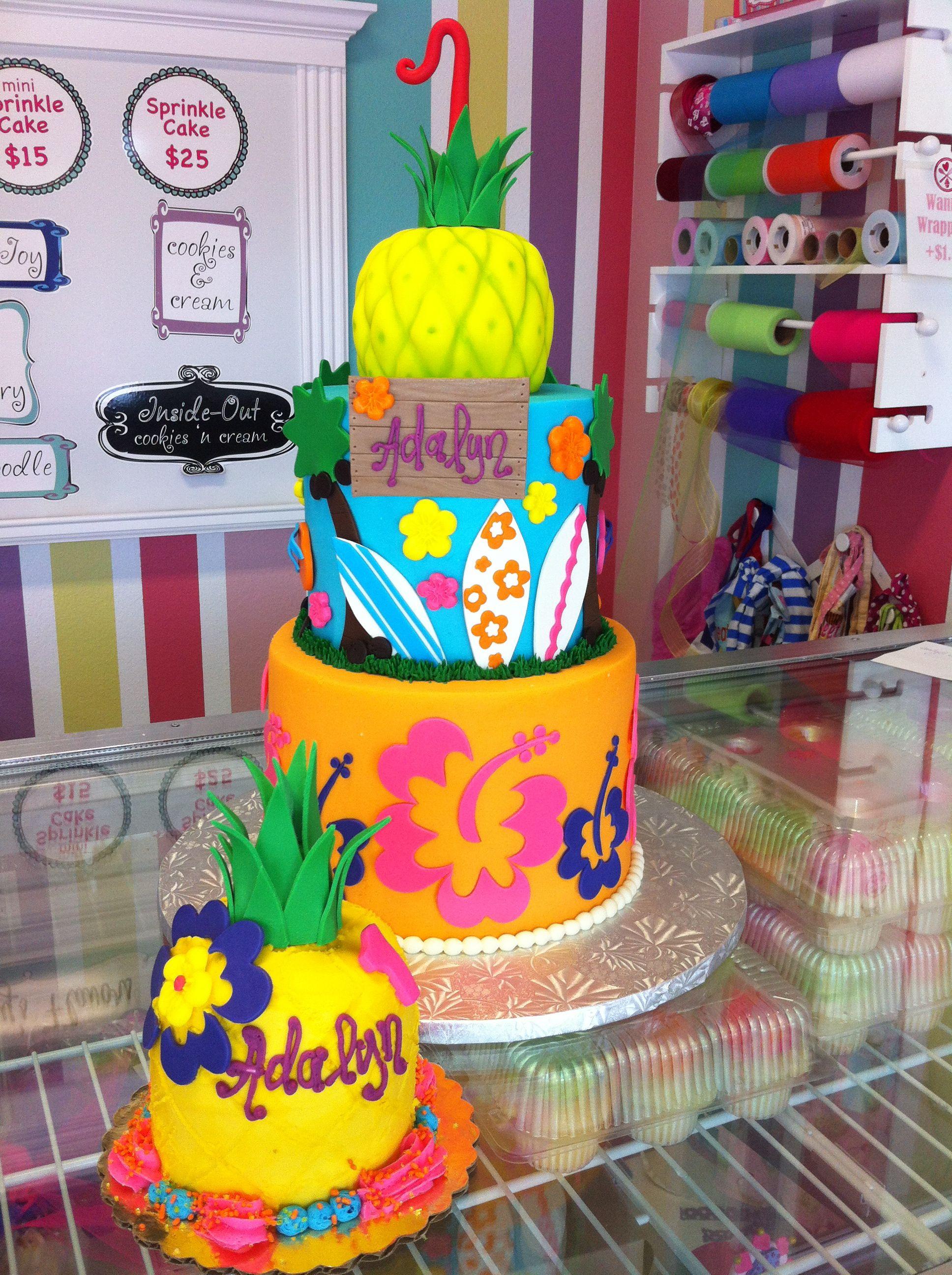 Hawaiin Pineapple Surfing Girly Birthday Cake And Smash Cake Www