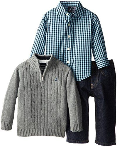 Nautica Baby-Boys Infant 3 Piece Woven Sweater Denim Set, Medium Grey Heather, 12 Months Nautica http://www.amazon.com/dp/B00KEZYPUW/ref=cm_sw_r_pi_dp_9Owoub1NRR260