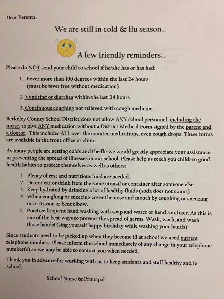 School Nurse note to parents - repinned by @PediaStaff u2013 Please - nursing note template