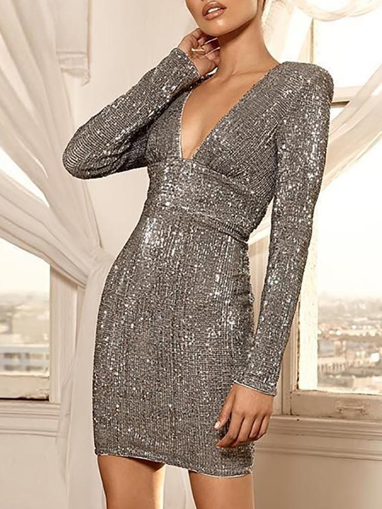 d1e72421f37 Glitter Deep V Open Back Party Dress in 2019 | A. LL Fashion ...