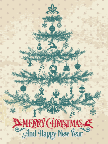 Classic christmas tree card a polka dotted christmas card will classic christmas tree card a polka dotted christmas card will charm them this beautiful christmas greeting offers a touch of the past with its antique m4hsunfo