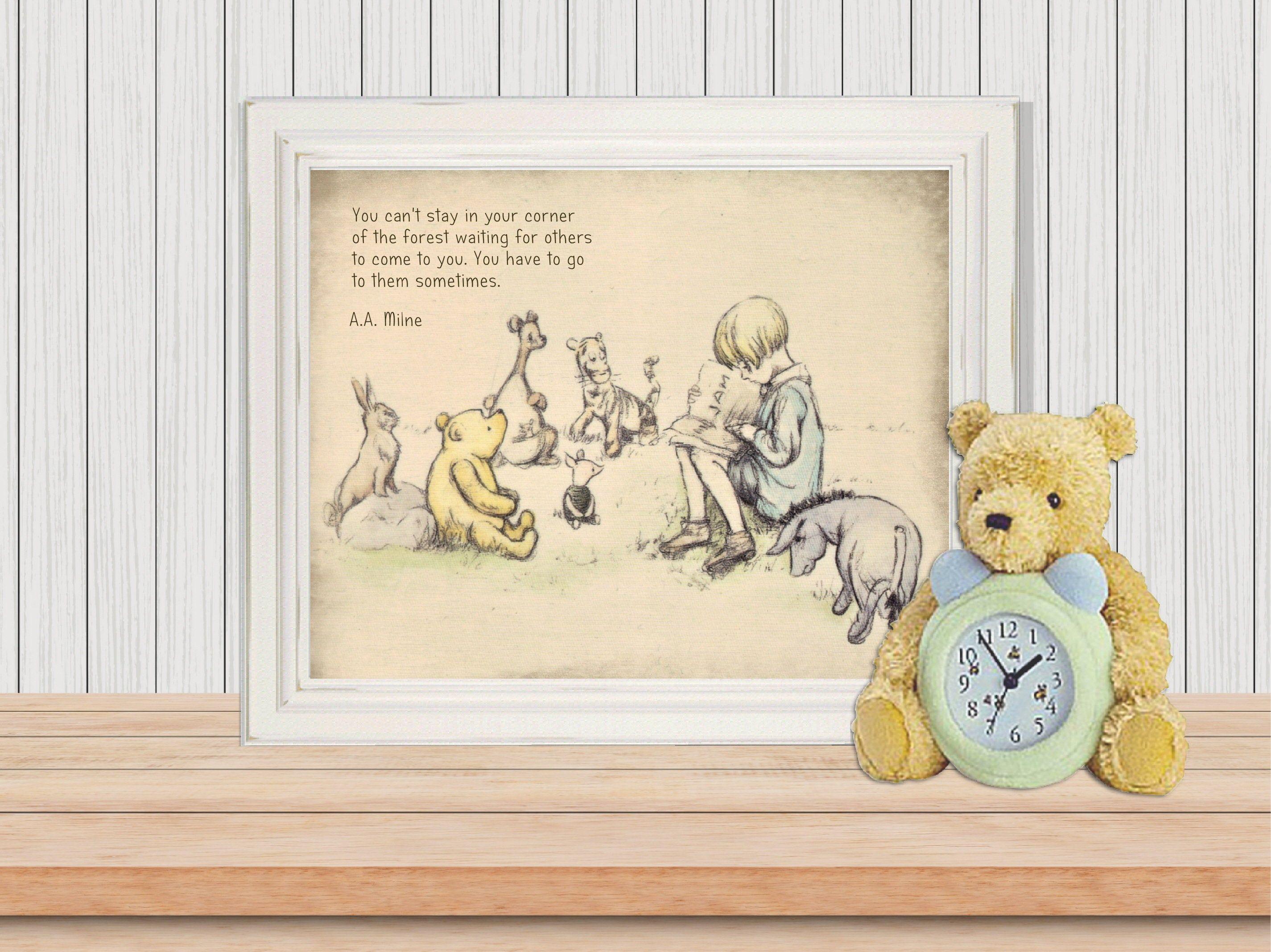 Classic Pooh Pooh Nursery Pooh Illustration Pooh Drawing Etsy Pooh Drawing Nursery Deco Book Themed Nursery