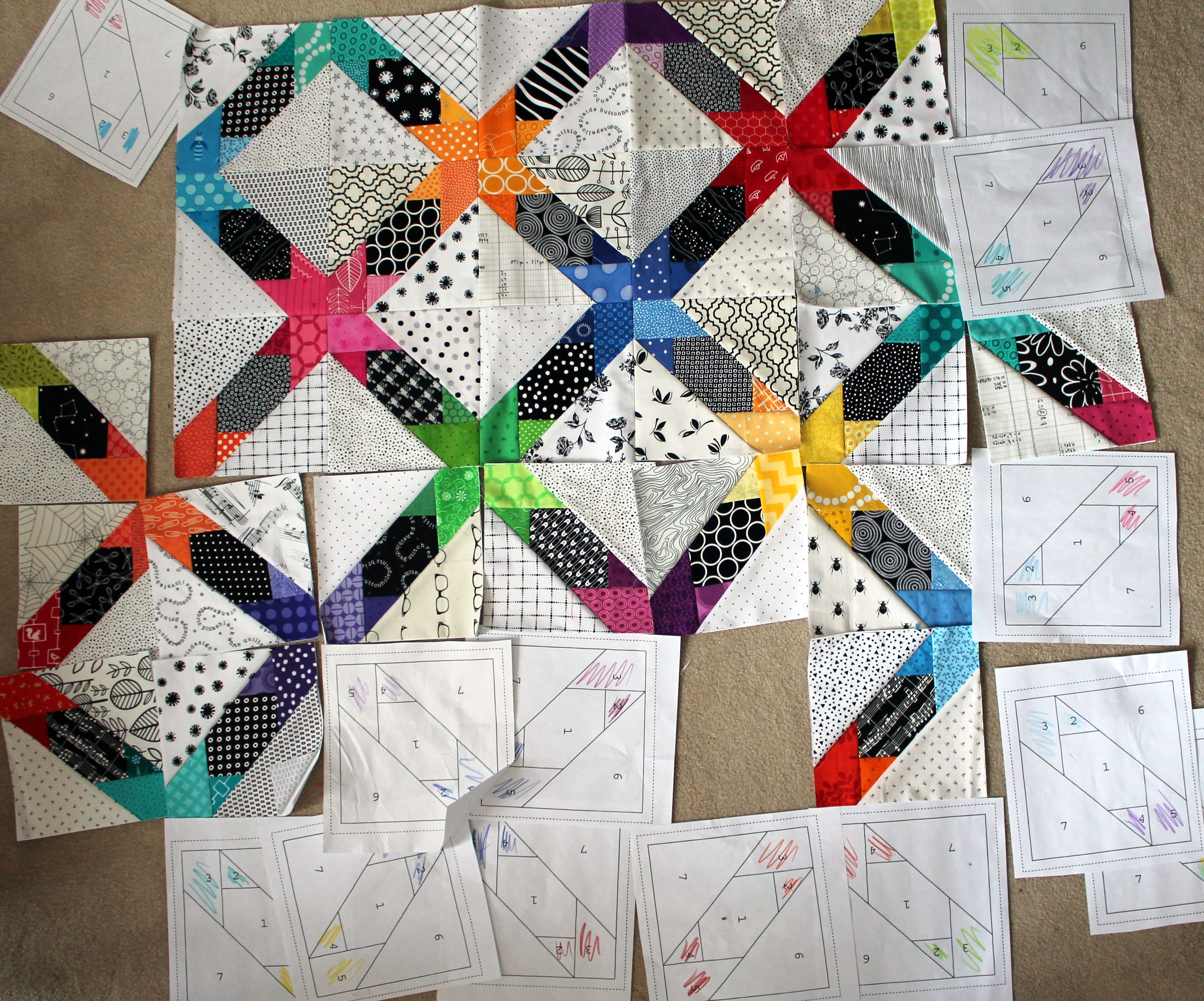 Inspirational paper piecing at wombat quilts cross block wip
