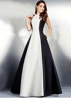 Ball-Gown Scoop Neck Floor-Length Satin Evening Dress