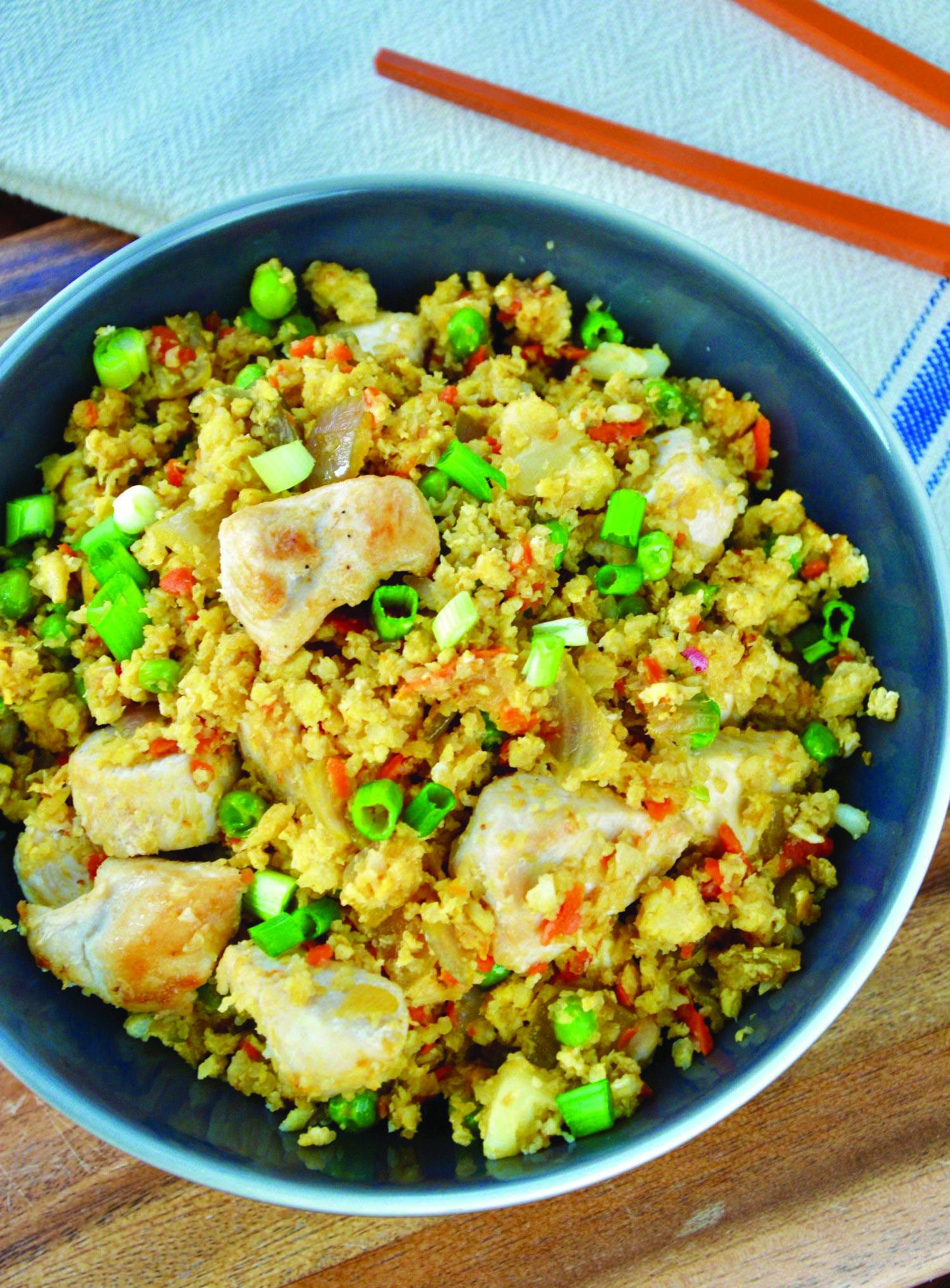 Sweet chicken cauliflower fried rice healthy just on i-healthy recipes ideas #cauliflowerfriedrice