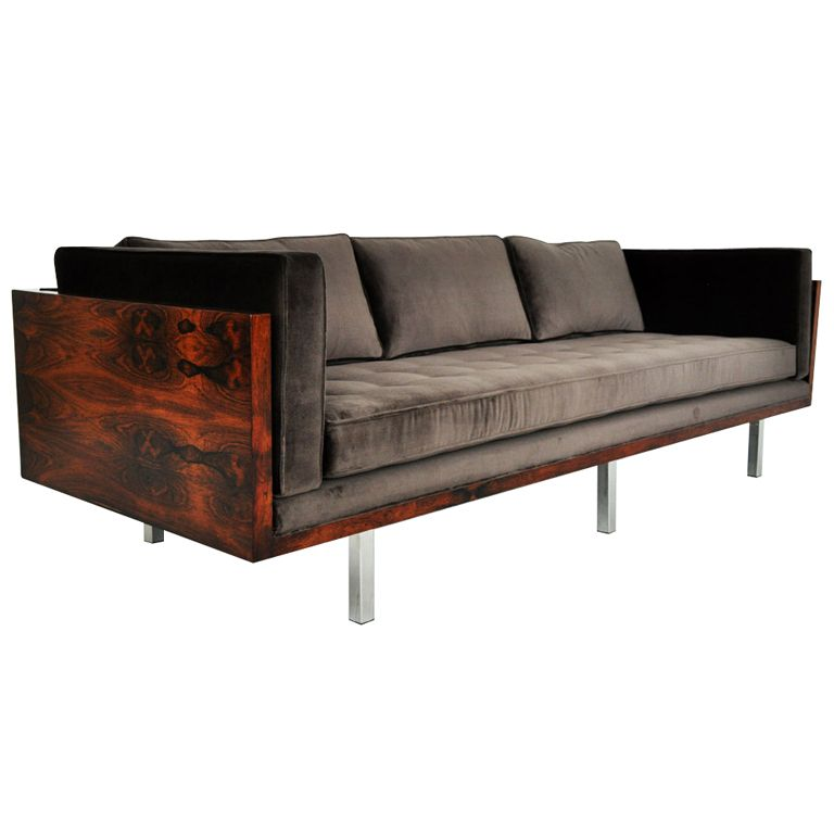 Rosewood Case Sofa Milo Baughman Furniture Wood Frame Couch