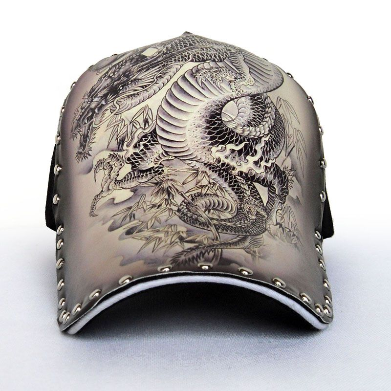 skyrim baseball cap mod hat original male adjustable antique retro dragon pattern rivet hip hop style men