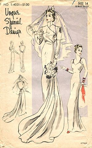 Vogue 1742 1930s Wedding Dress Vintage Wedding Dress Pattern Vintage Dress Patterns Wedding Dresses Vintage