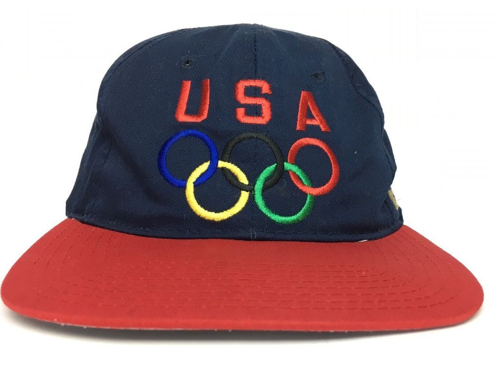 755062902b5 Vintage USA Olympics Olympicap Blue and Red Snapback Hat Visions of Gold