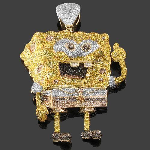 4319faf5ad696 10K Yellow Gold Mens Diamond Sponge Bob Pendant 6.10 Ctw | Things I ...