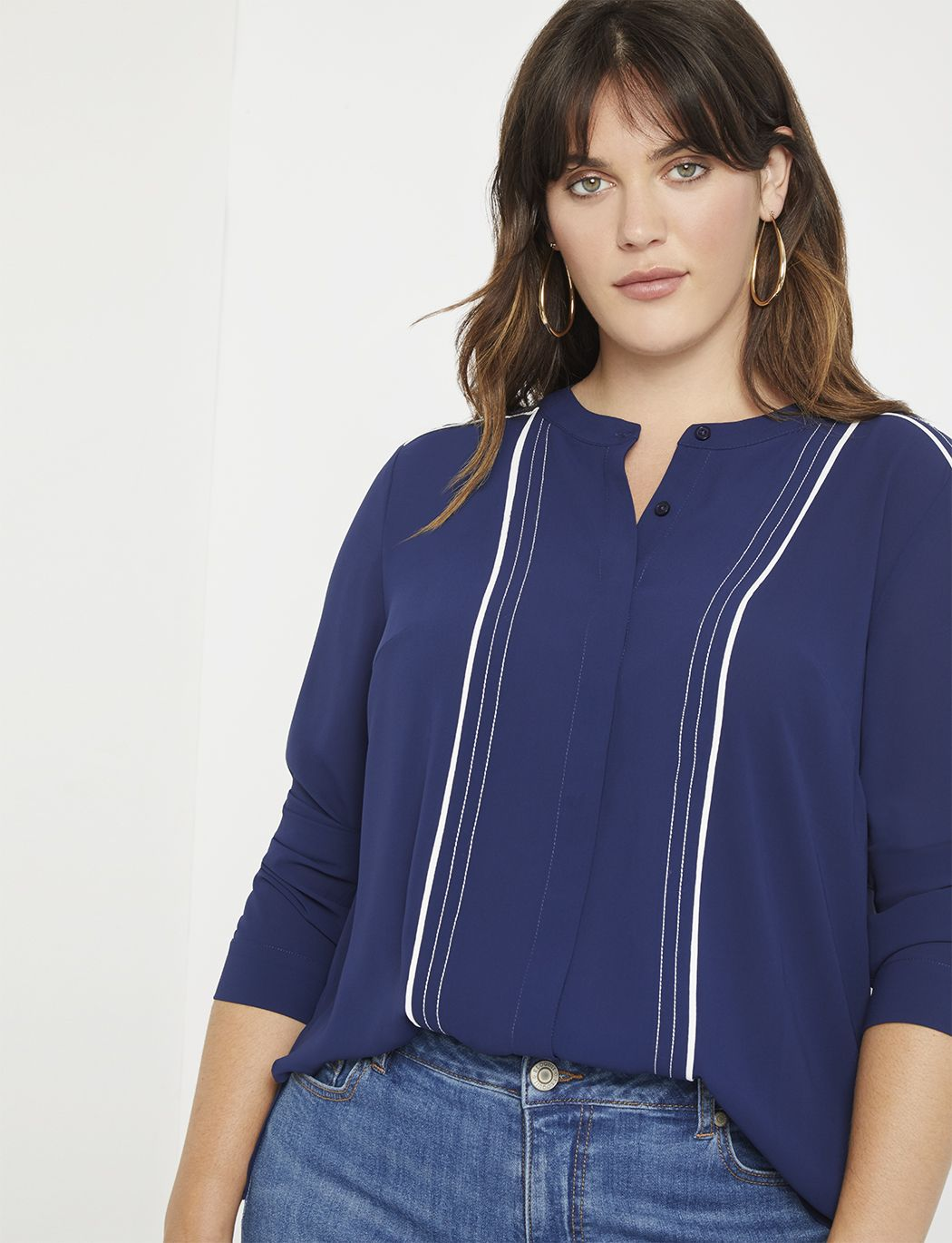 Photo of Contrast Piped Blouse | Women's Plus Size Tops | ELOQUII