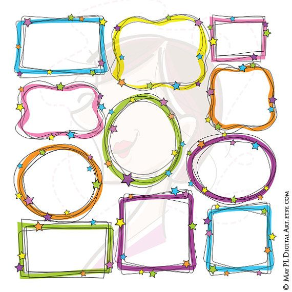 5e98ad0fa27 Whimsical Borders Clipart Digital Doodle Frames Hand Drawn Whimsy Frame  Clip Art Labels Tags Scrapbook Teacher Craft 10269