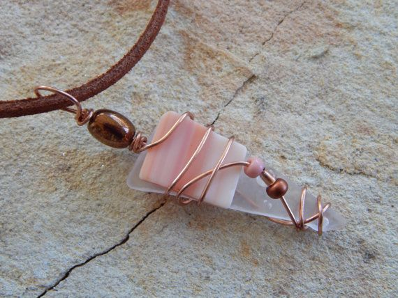 wire wrapped recycled glass pendant. Wire Wrapped Recycled Glass Pendant Handmade Eco Friendly Jewelry Necklace Clear/Peach Colored E