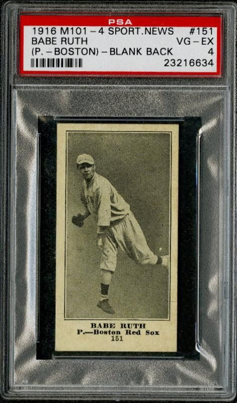 Newly Discovered 1916 M101 4 Card Set Heads To Auction Cards Babe Ruth Baseball Cards