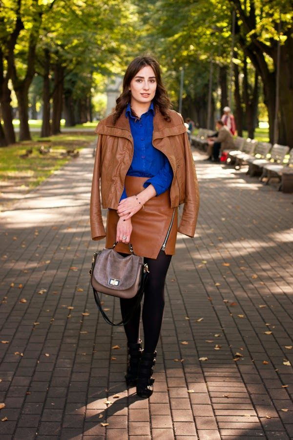Women's Tobacco Leather Jacket, Blue Dress Shirt, Tobacco Leather ...