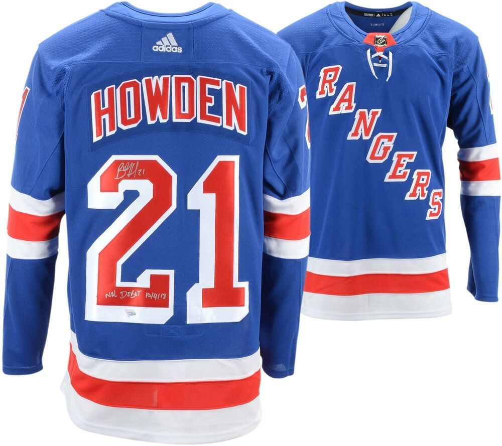 Brett Howden Ny Rangers Signed Blue Adidas Authentic Jersey Nhl Debut Insc New York Rangers Jersey Red Adidas