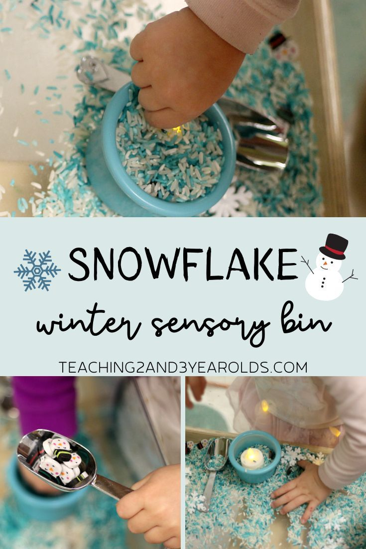 Photo of Snowflake Winter Sensory Bin with Flicker Candles