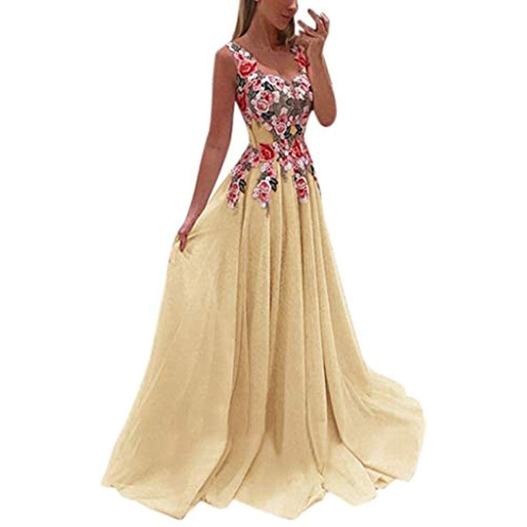 BaZhaHei Damen Kleider Spitze Applique Elegante Coral