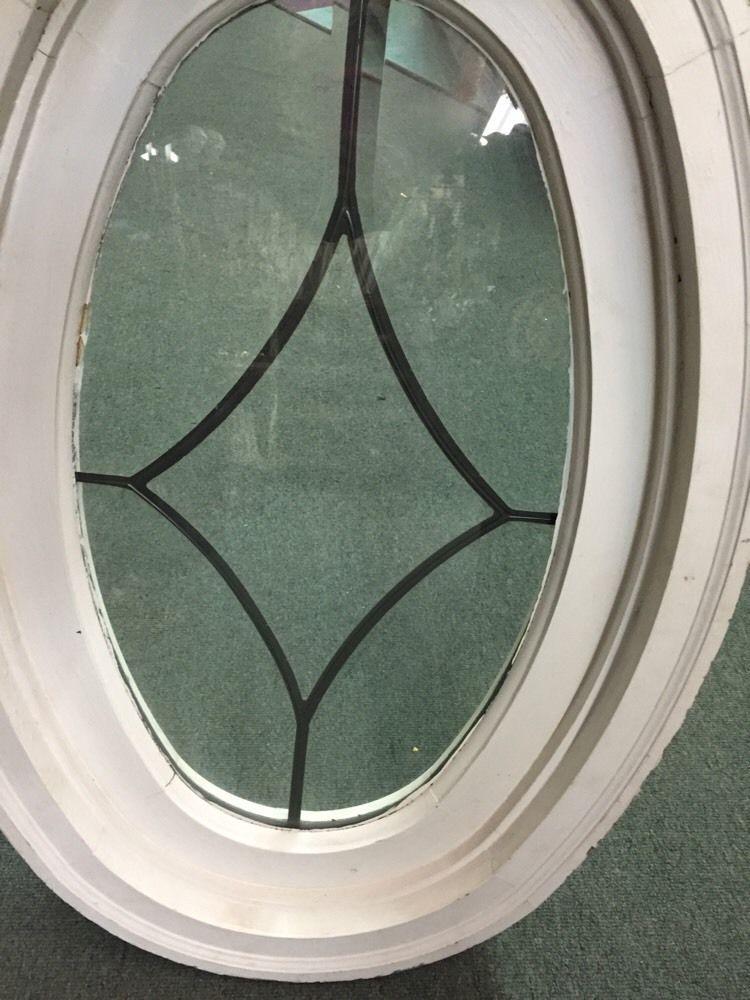 Double Pane Leaded Glass Oval Window In Frame 34x22\