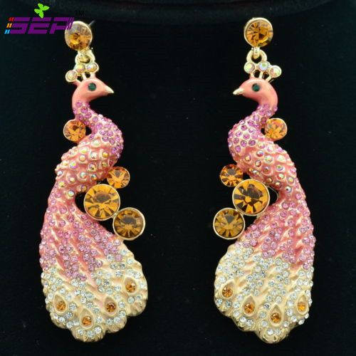 2015 Fashion Women Dangle Earring Vogue Pink Rhinestone Crystals Animal Peafowl Peacock Pierced Earring Free Shipping FA3185 #Affiliate