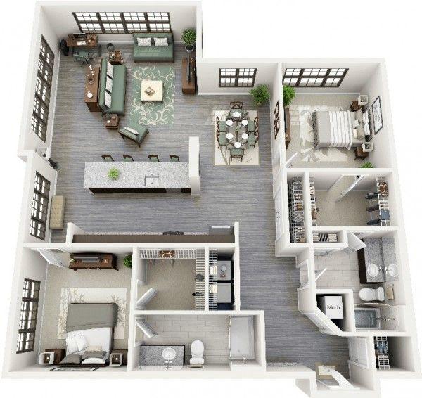 50 2 Bedroom Apartment House Plans Ideas House Plans Apartment Plans 2 Bedroom Apartment