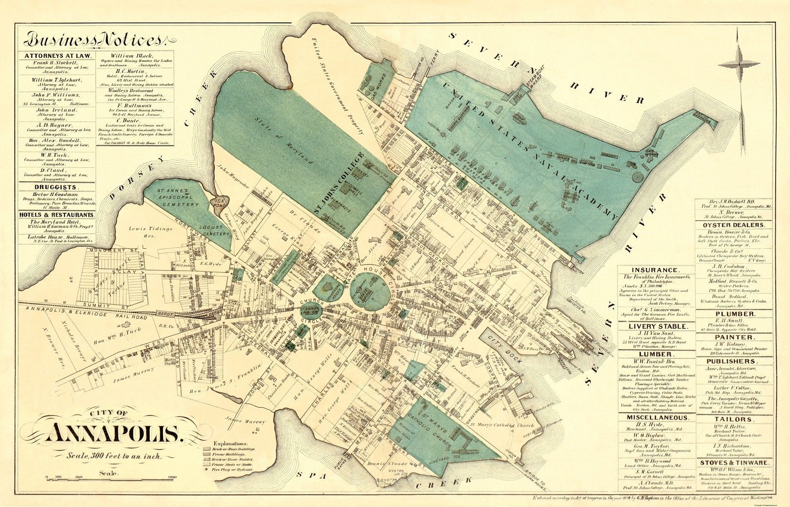 Old City Map - Annapolis Maryland Landowner - 1878 - 35.81 x 23 ...