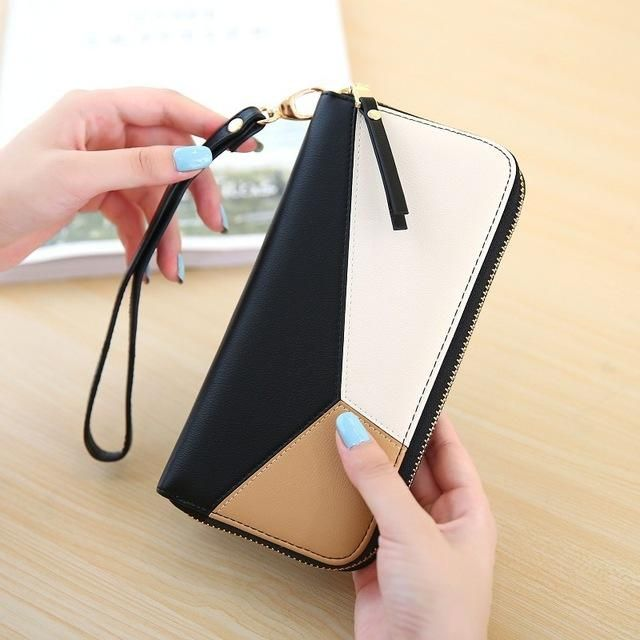 DUDINI Long Women Mobile Phone Wallets 3 Colors Stitching Zipper Money Purse Fashion Simple Ladies Coin Wallet Card Holder Bag