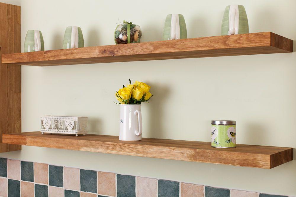 Details about Solid Oak Wooden Floating Shelves Quality