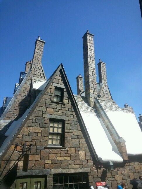 In Harry Potter's neighborhood in Islands of Adventure at Universal.  Best snow ever! #LoveFL #HarryPotter #chimneys #Orlando #snow #Universal Studios #IslandsOfAdventure #iluvwinterpark