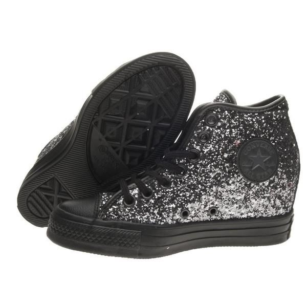 Sparkly Gunmetal Silver Black Glitter Converse All Stars Wedge Heel Wedding  Bride Shoes - Glitter Shoe Co ddce357f3e67
