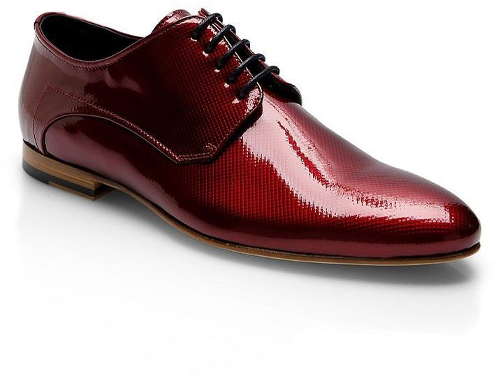 HUGO Hugo Boss red patent lace up shoes