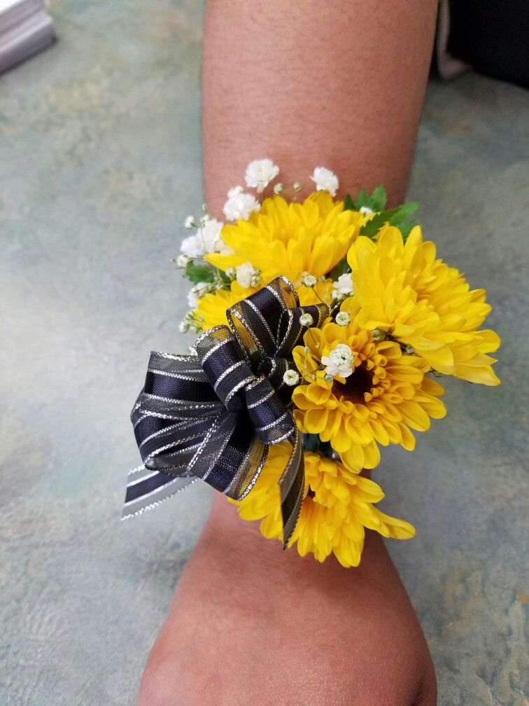 Sunflower Wrist Corsage The Flower Box Florist In 2019 Prom Bouquet Sunflower Corsage