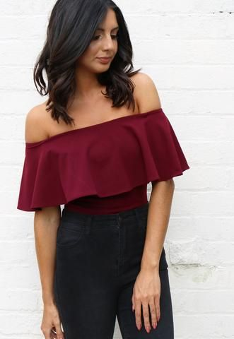 b100819de121 Sleeveless Off The Shoulder Frill Top Bodysuit in Burgundy Red - One Nation…