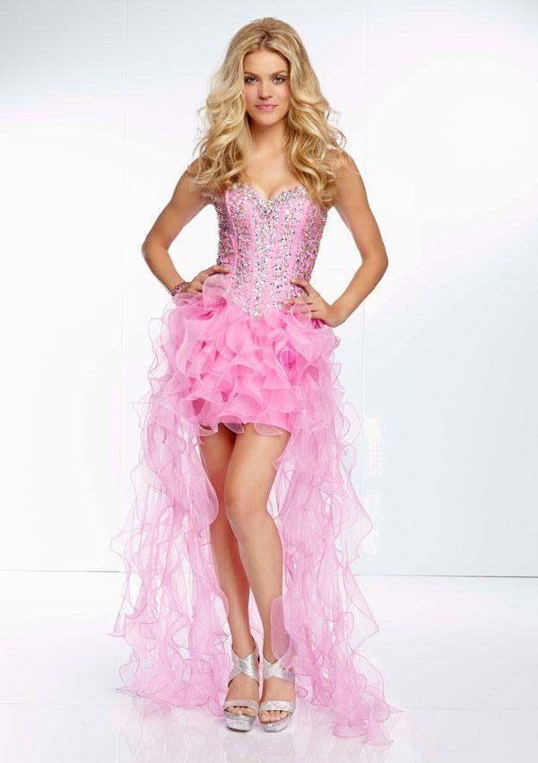 Jewel Beaded Bodice On Hi-lo Ruffled Organza Gown Bridesmaids ...