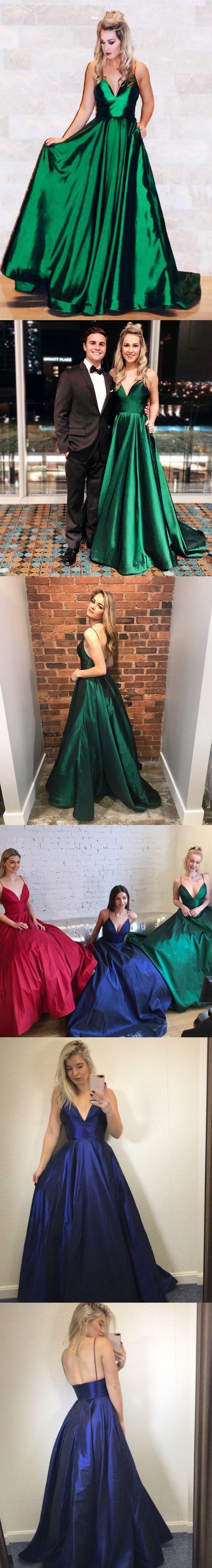 Cheap prom dresses aline spaghetti straps simple prom dress long