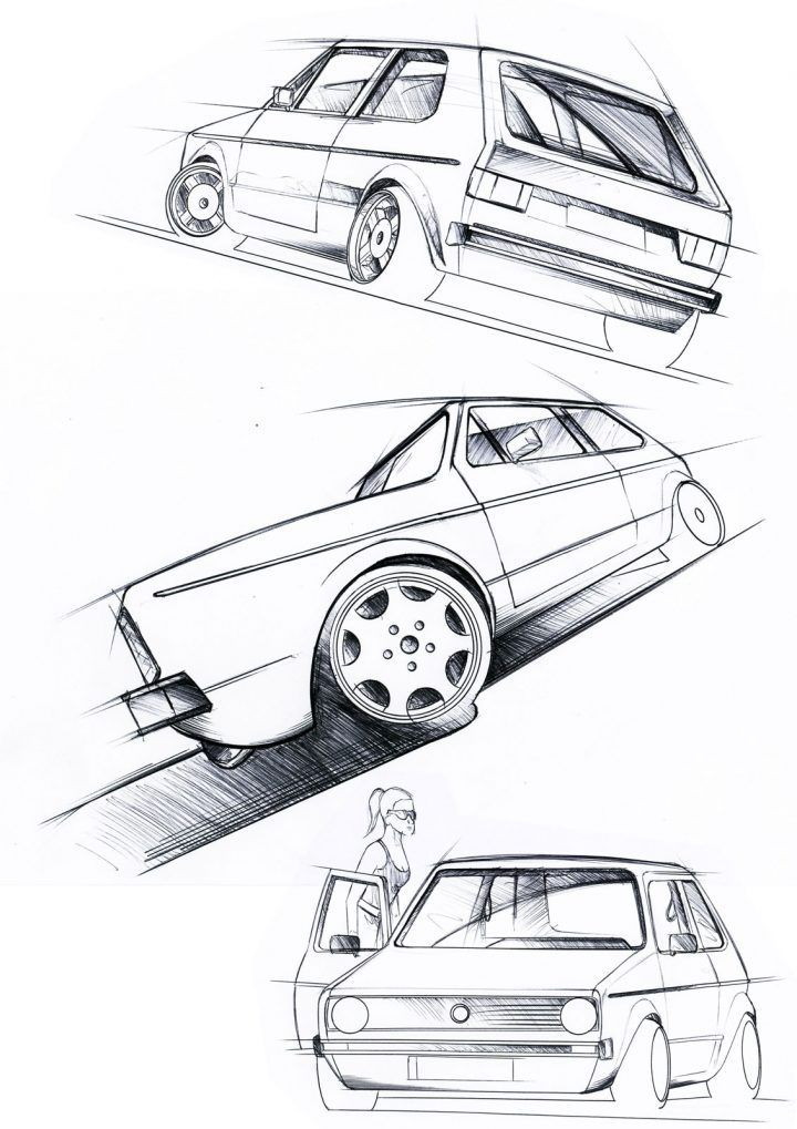 Volkswagen Golf Mk 1 Design Sketches #vw #volkswagen #vwgolf #designsketch #cardesign #carbodydesign #golf