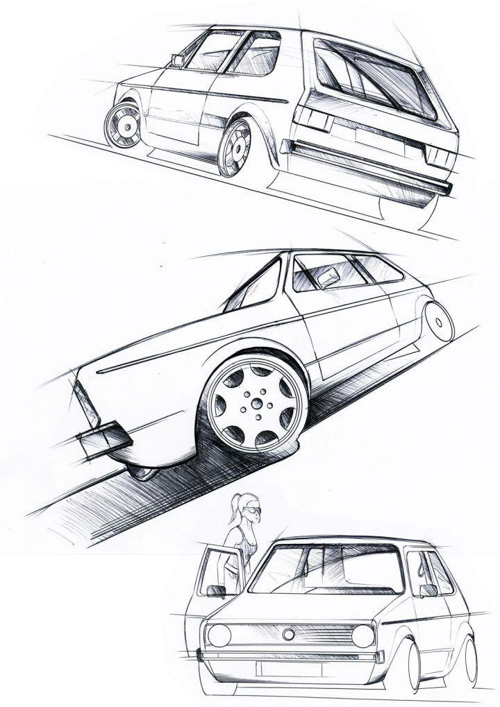 Volkswagen Golf Mk 1 Design Sketches #vw #volkswagen #