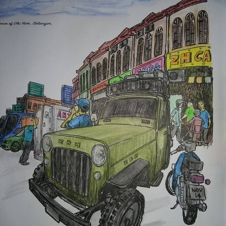 Malaysia Scenery Adult Colouring Book Part1 Townscapes Artist