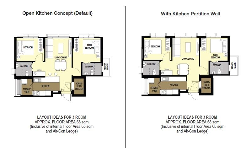 Alkaff Lakeview 3 Room 03 Room Layout Kitchen Concepts Led House