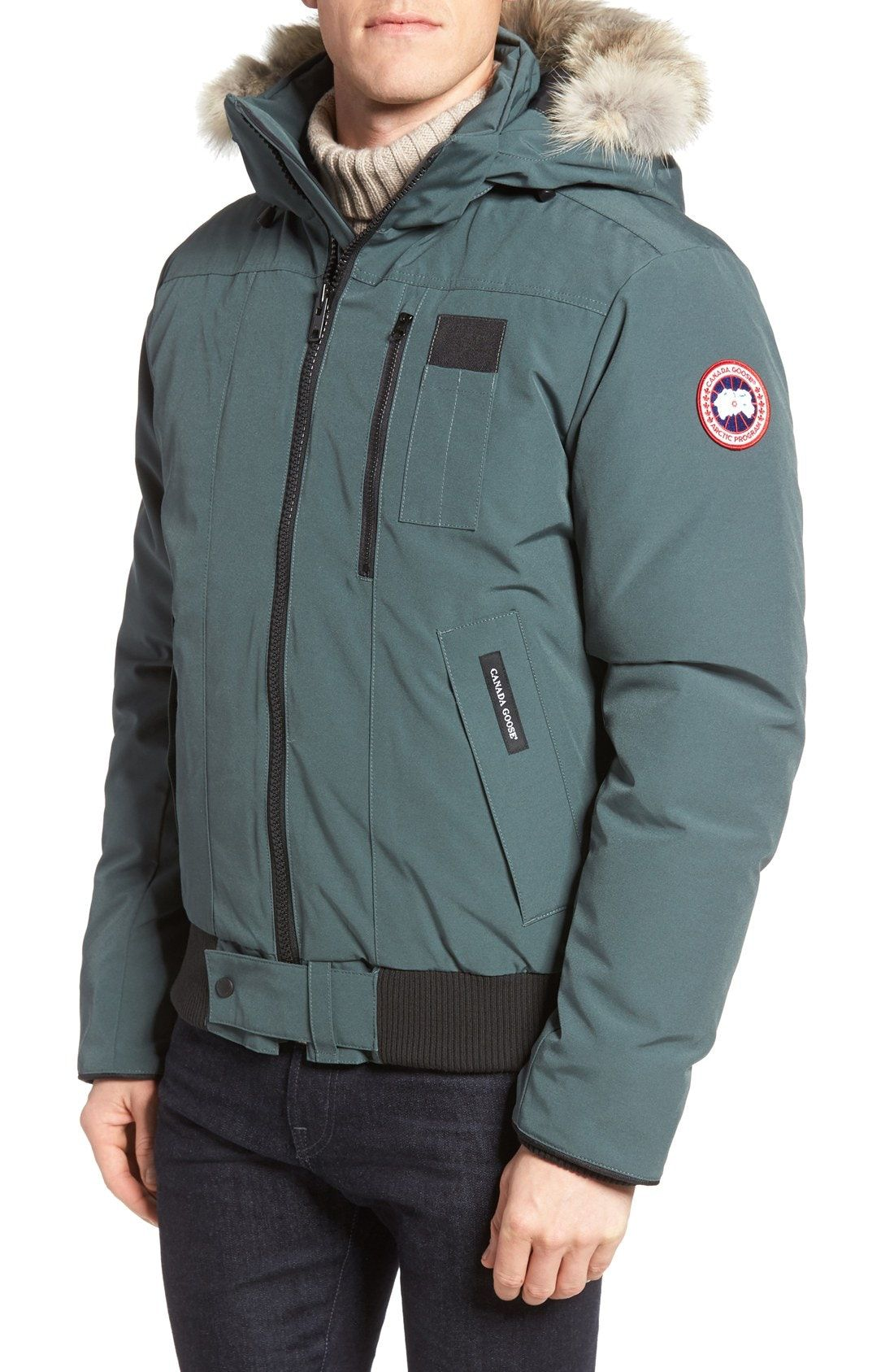 New Canada Goose Borden Regular Fit Bomber Jacket with Genuine Coyote Trim ,FOREST GREEN fashion